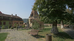 View of the park near Shoemakers Tower, Sighisoara Stock Footage