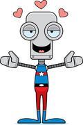 Stock Illustration of Cartoon Superhero Robot Hug