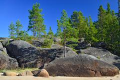 Rocky shore of White sea. Karelia, Russia Stock Photos