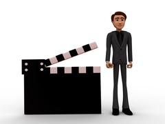 3d man presenting film clap concept - stock illustration