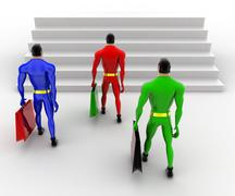 3d superheros holding briefcase and walking to higher level step concept - stock illustration
