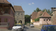 Tailors Tower in Sighisoara Stock Footage