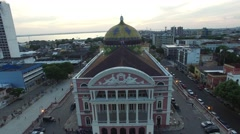 Aerial view of the Amazon Theater and the city of Manaus, Brazil Stock Footage