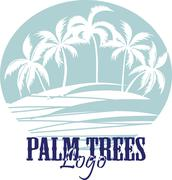 Palm trees on the Beach Logo. Silhouette - vector - stock illustration