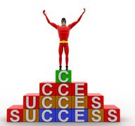 Stock Illustration of 3d super hero standing on the top of success blocks concept