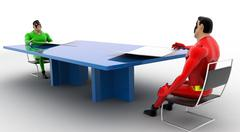 Stock Illustration of 3d superheros having conversation in between a table concept