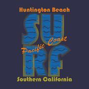 Surfing t-shirt graphic design. Huntington Beach - vector Stock Illustration
