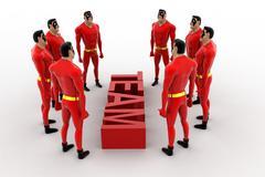 3d superheros formed  in a circular way presenting team spirit concept - stock illustration