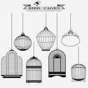Bird cages set Stock Illustration