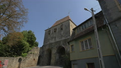 The beautiful Tailors Tower in Sighisoara Stock Footage