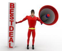 3d superhero annoucing best deal with megaphone concepts Stock Illustration