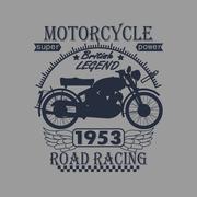 Motorcycle Racing Typography Graphics Label. T-shirt Design, vec Stock Illustration