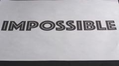 Impossible/Possible in just a cut away Stock Footage