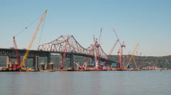 4K New Tappan Zee Bridge Timelapse Long Shot Panning Stock Footage