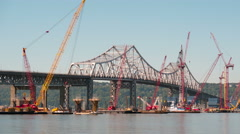 4K New Tappan Zee Bridge Timelapse Medium Shot Panning Stock Footage