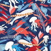 pattern sea creatures - stock illustration