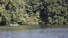 Green boat at the lake Stock Footage