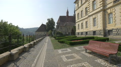 Beautiful alley in front of the City Hall, Sighisoara Stock Footage