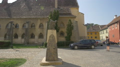 Vlad Tepes statue in Sighisoara Fortress Stock Footage