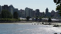 Vancouver skyline from Stanley park Stock Footage