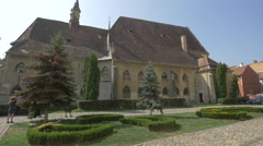 Side view of the Monastery Church in Sighisoara Stock Footage