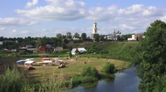 General view (in 4k) across Suzdal, Russia. Stock Footage