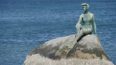 Girl in a wetsuit statue Vancouver - stock footage