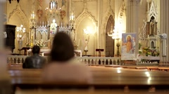 Stock Video Footage of praying on the church