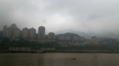 Changjiang river, skyline of chongqing city in rain Stock Footage
