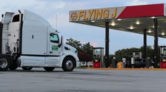 Truck Semi Parked at Truck Stop Stock Footage