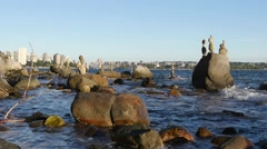 Balanced Rocks at Vancouver oceanfront Stock Footage