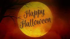 Happy Halloween Full Moon in Orange Stock Footage