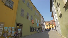 Souvenir shops in Sighisoara Fortress - stock footage