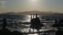 Balanced Rocks at Vancouver ocean Stock Footage