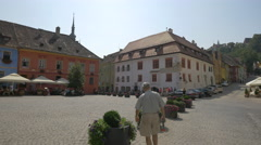 Fortress Square on a sunny afternoon, Sighisoara Stock Footage