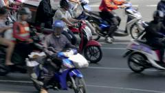 Road Traffic in Bangkok, view from above, Thailand Stock Footage