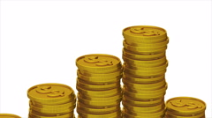 Increasing gold coin stacks ( 4k, Alpha, Loop ) Stock Footage