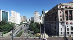 Aerial view of Anhangabau Valley, Sao Paulo, Brazil Stock Footage