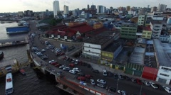Aerial view of the harbor and the Municipal Market in Manaus, Amazon, Brazil Stock Footage