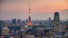 Tokyo, japan skyline with Tokyo Tower. Stock Footage