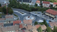 Vehicles Driven Through European Traffic Circle (Roundabout) Stock Footage
