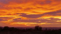 Beautiful red and orange clouds after sunset on a field - stock footage