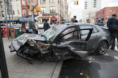 Car wreck in Queens New York - stock photo
