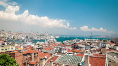 Stock Video Footage of Istanbul - City Panorama with Galata and Bosphorus Bridge in the background