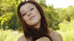 Close-up portrait of beautiful young woman Stock Footage
