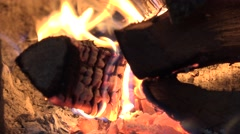 4K Closeup wood fire fireplace charcoal burn Christmas night holiday peaceful  Stock Footage