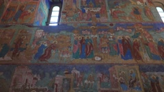 Frescoes in the Cathedral of the Transfiguration of the Saviour, Suzdal, Russia. Stock Footage