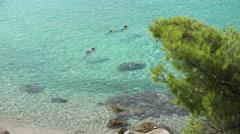 Snorkeling in Santorini Island, Greece Stock Footage