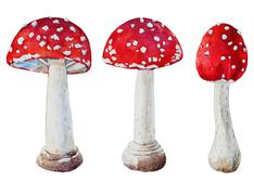 Stock Illustration of Watercolor vector amanita mushrooms