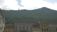 Tampa hill and the buildings from the Council Square, Brasov Stock Footage